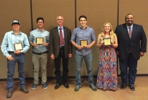 At the April 21 awards banquet, from left: John Martinez, Abraham Sanchez, Alan May, Adam Baca, Jade Reese, and Rudy Fajarso, WS district supervisor.